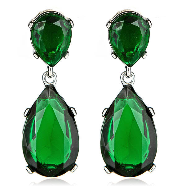 Kenneth Jay Lane Flower Top Emerald Teardrop Clip Earrings Emerald