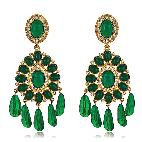 Emerald Globetrotter Earrings by KENNETH JAY LANE