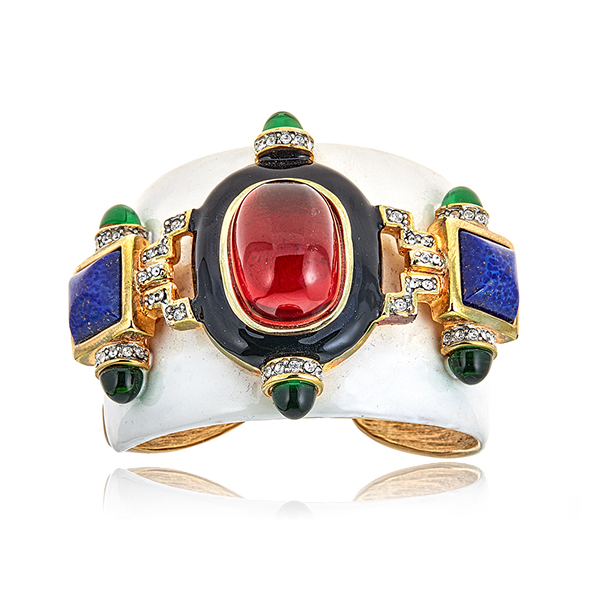 Enamel Ruby Cuff Bracelet by KENNETH JAY LANE