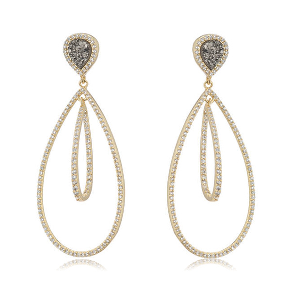 Double Druzy Pave Hoops by MARCIA MORAN