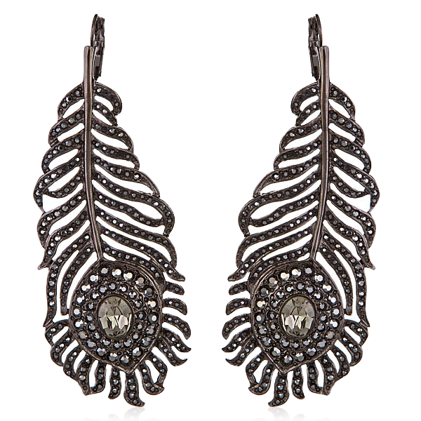 Gunmetal Feather Earrings by Kenenth Jay Lane