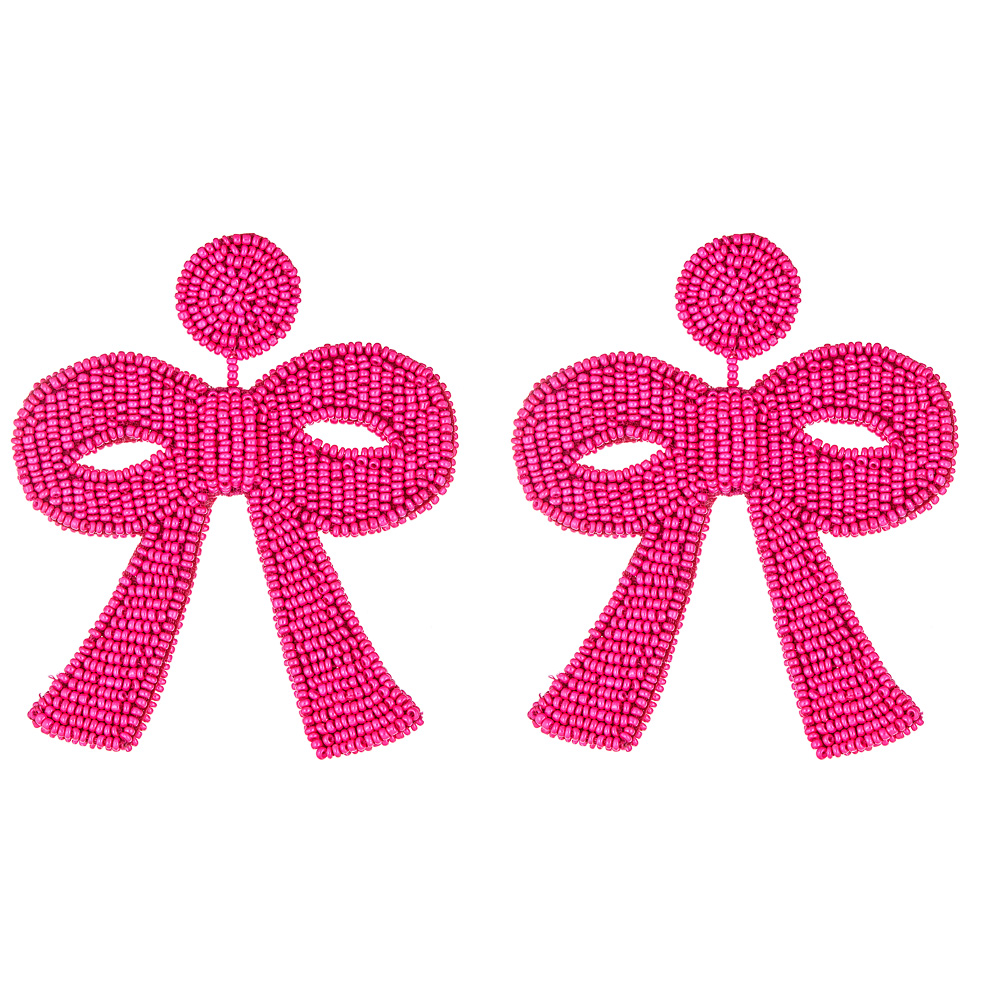 Fifi Hot Pink Bow Earrings by FRENCH AND FORD