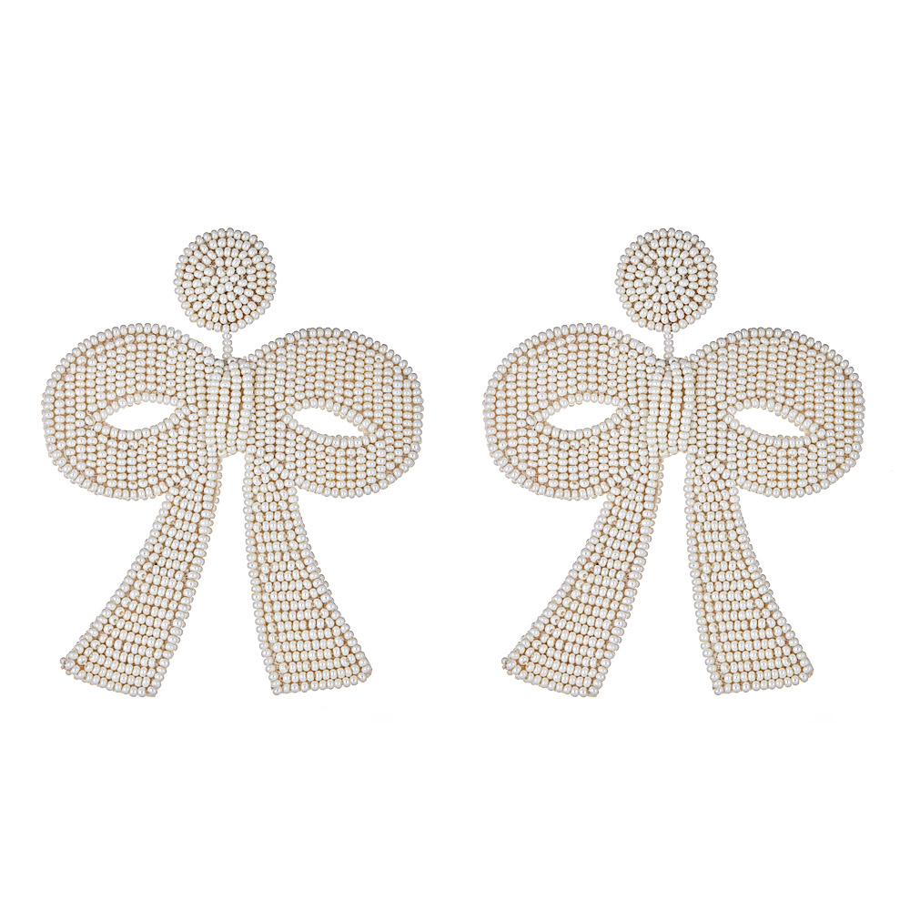 Fifi Pearl Bow Earrings by FRENCH AND FORD