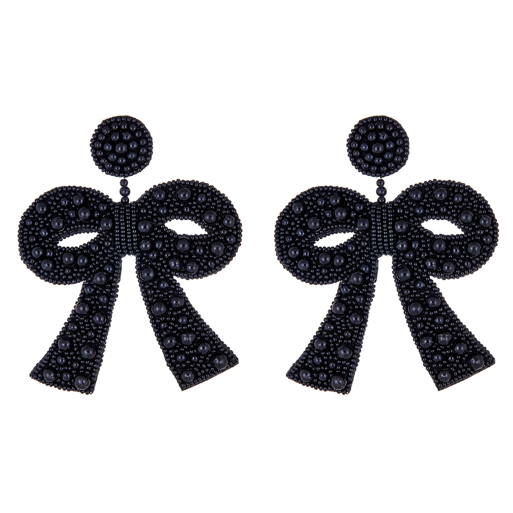 Fifi Popcorn Black Bow Earrings by FRENCH AND FORD