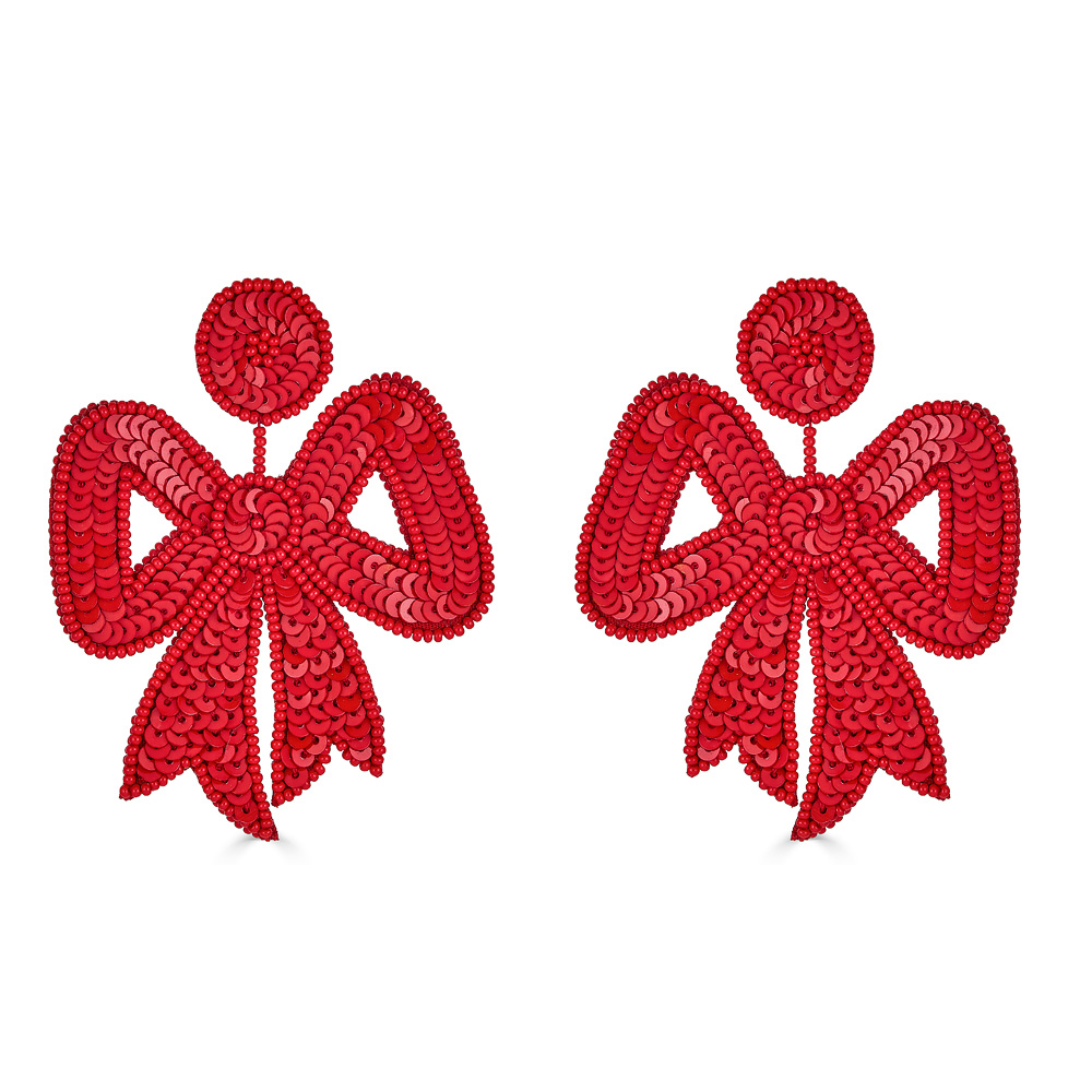 Fifi Red Sequin Bow Earrings by FRENCH AND FORD