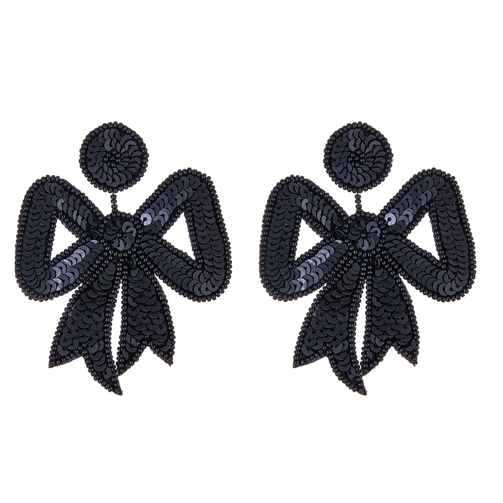 Fifi Retro Bow Sequin Earrings  by FRENCH AND FORD