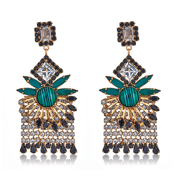 Fringe Malachite Earrings by Elizabeth Cole