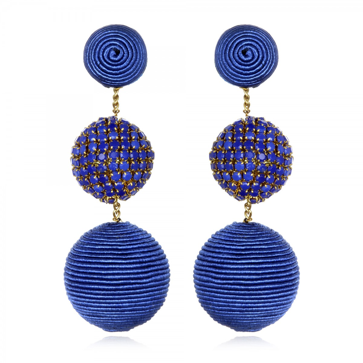 Blue Beaded Gumball Earrings by SUZANNA DAI
