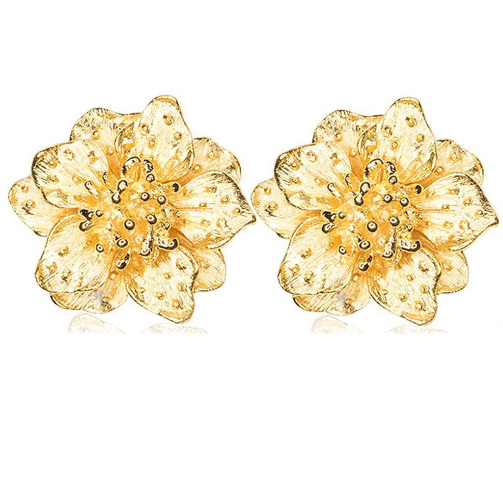Dogwood Satin Flower Earrings by KENNETH JAY LANE