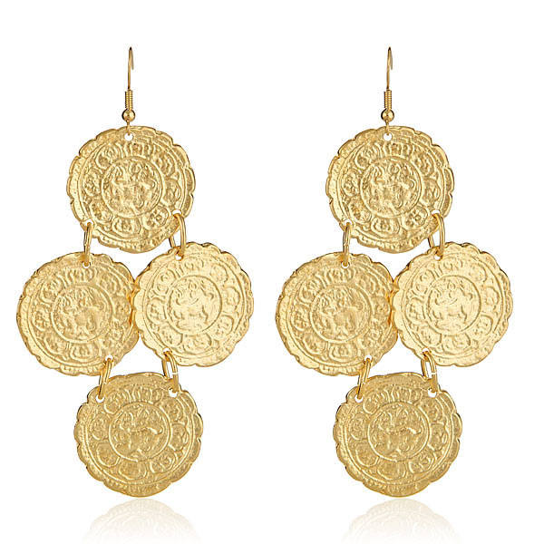 Gold Coin Earrings by KENNETH JAY LANE