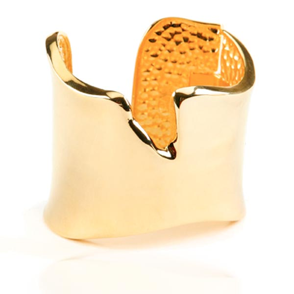 Gold Abstract Cuff by KENNETH JAY LANE