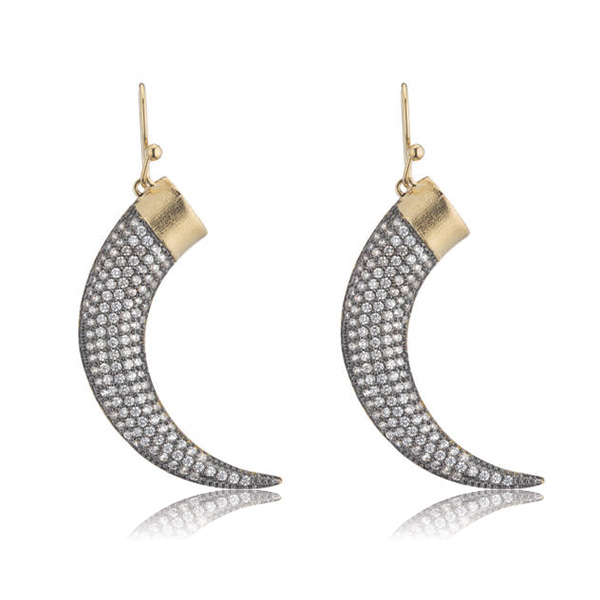 Gold and Gunmetal Horn Earrings by Marcia Moran