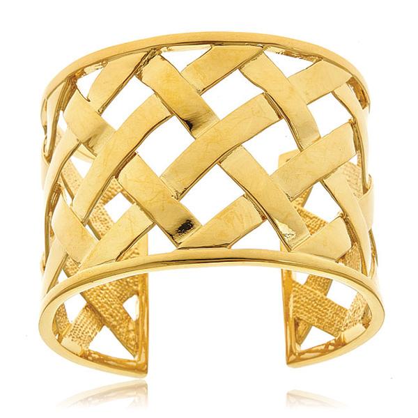 Gold Basket Weave Cuff by KENENTH JAY LANE