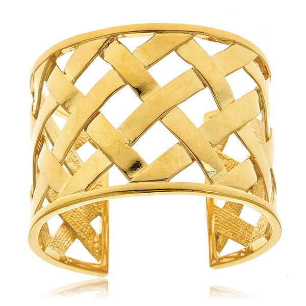 Gold Basket Weave Cuff by Kenenth Jay Lane