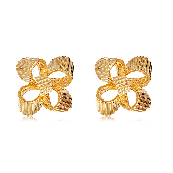 Gold Bow Earrings by KENNETH JAY LANE
