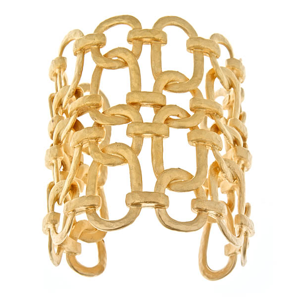 Gold Chain Link Cuff  by KENNETH JAY LANE