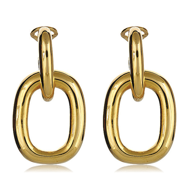 Gold Door Knocker Link Earrings by KENENTH JAY LANE