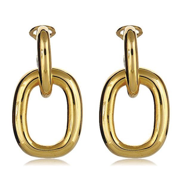Gold Door Knocker Link Earrings by Kenenth Jay Lane