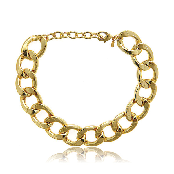 Gold Flat Link Necklace by KENNETH JAY LANE
