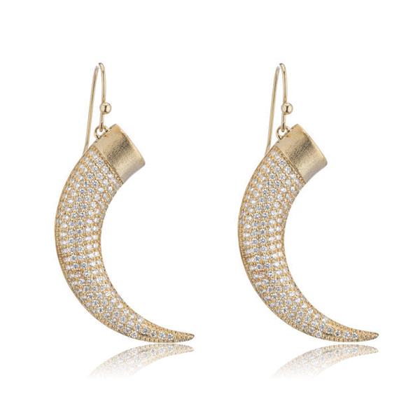 Gold Horn Earrings by MARCIA MORAN