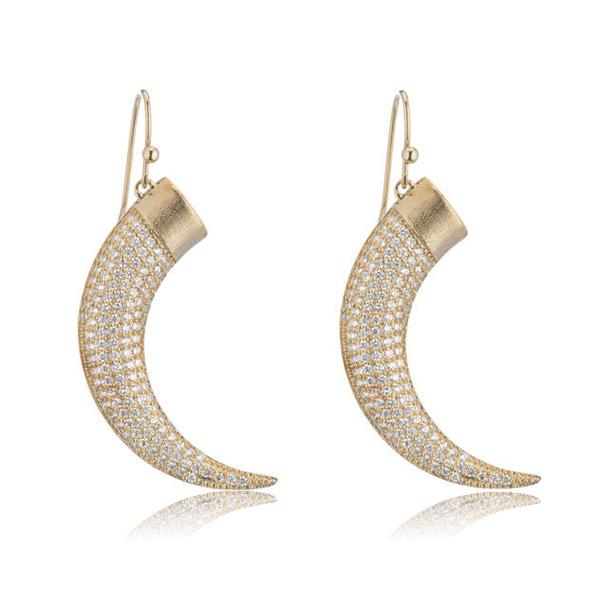Gold Horn Earrings by Marcia Moran