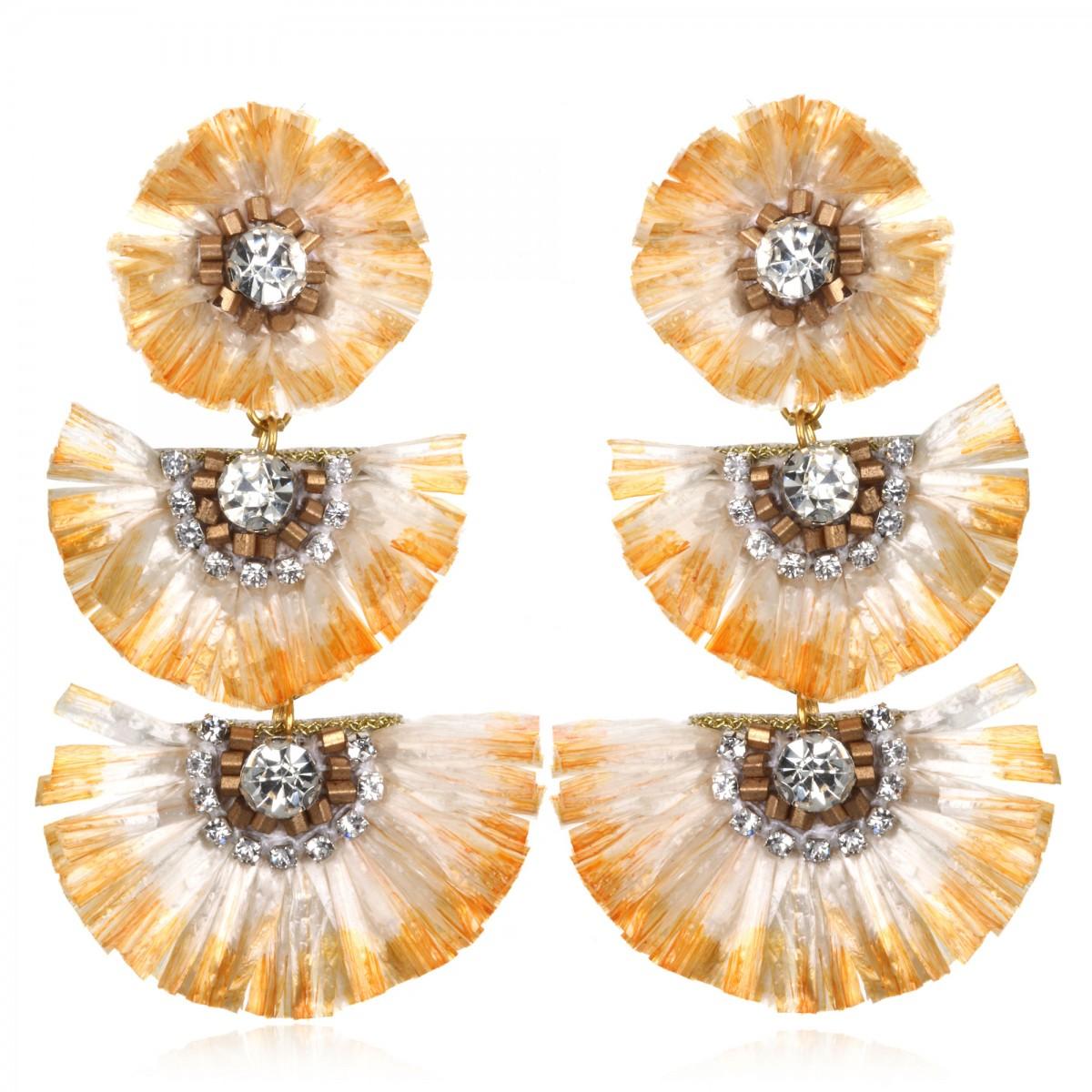 Gold Rafia Fan Drop Earrings by SUZANNA DAI