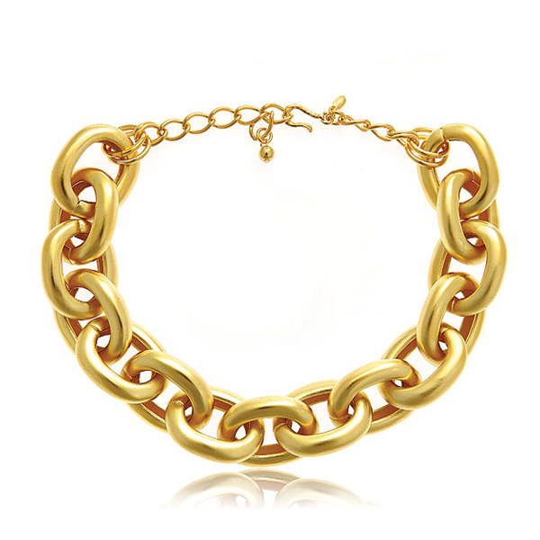 Gold Satin Link Necklace by KENNETH JAY LANE