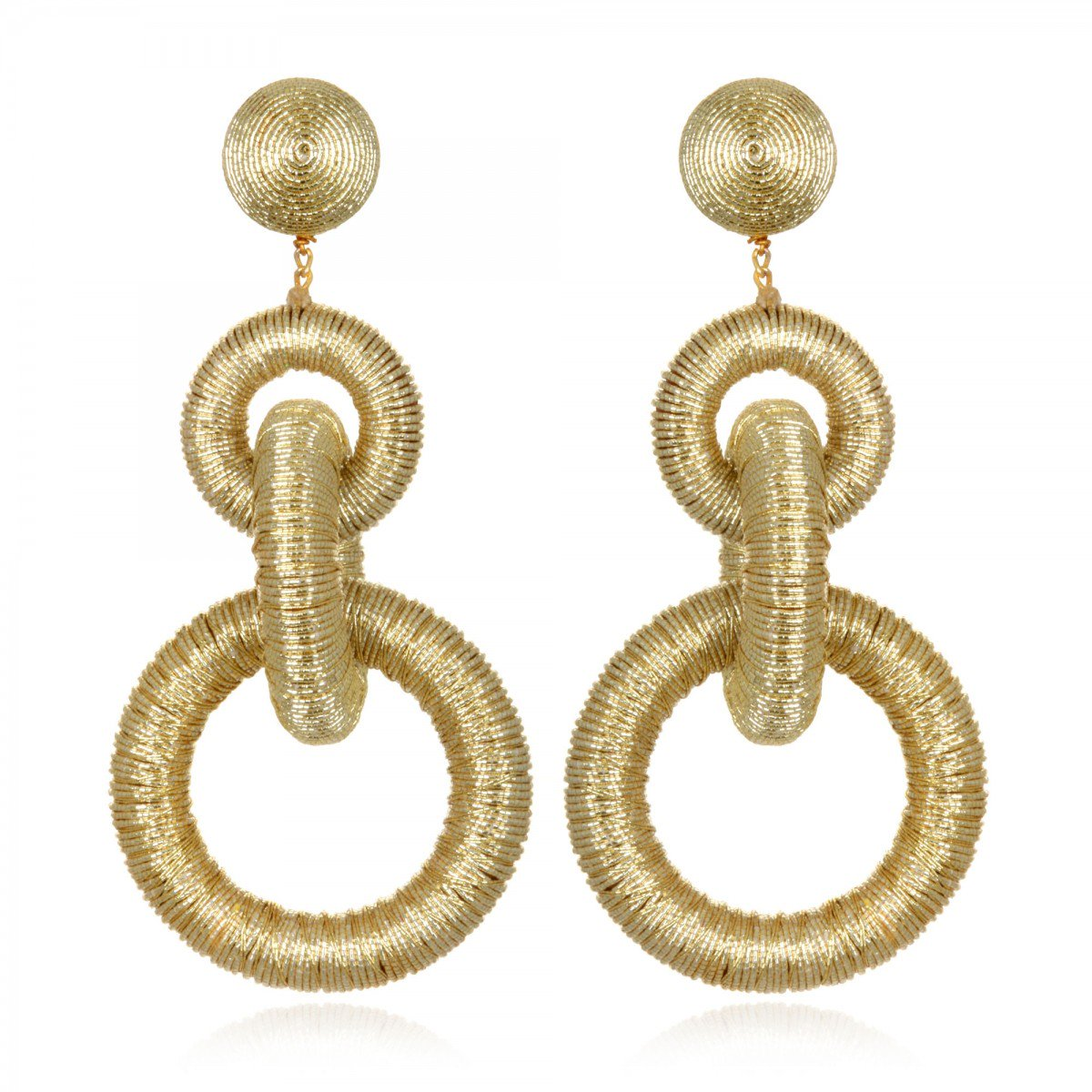 Gold Three Hoop Earrings by SUZANNA DAI