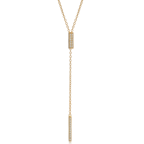 Gold Y-Drop Lariat Necklace by MARCIA MORAN