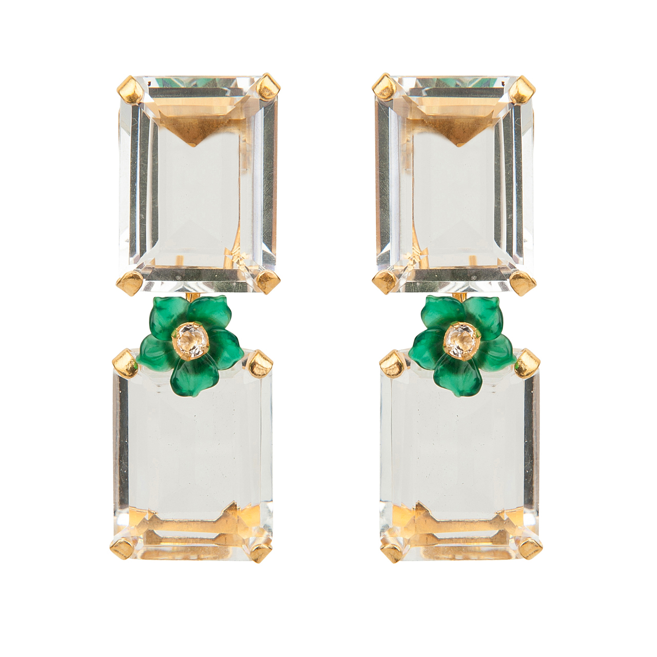 Green Agagte Quartz Earrings by BOUNKIT