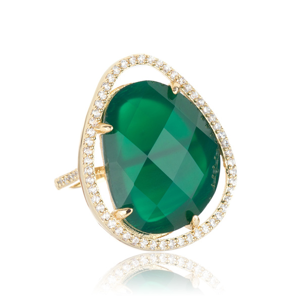 Green Agate Cocktail Ring by MARCIA MORAN