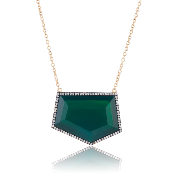 Green Onyx Slice Necklace by MARCIA MORAN
