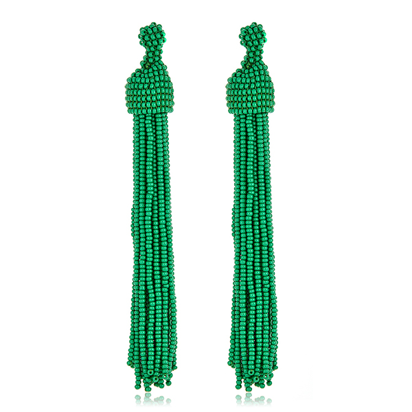 Green Seed Bead Tassel Earrings by KENNETH JAY LANE