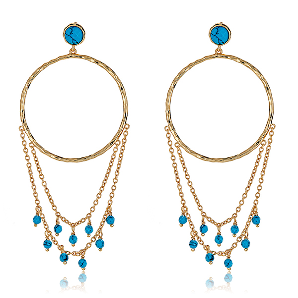 Turquoise Drape Hoop Earrings by GORJANA