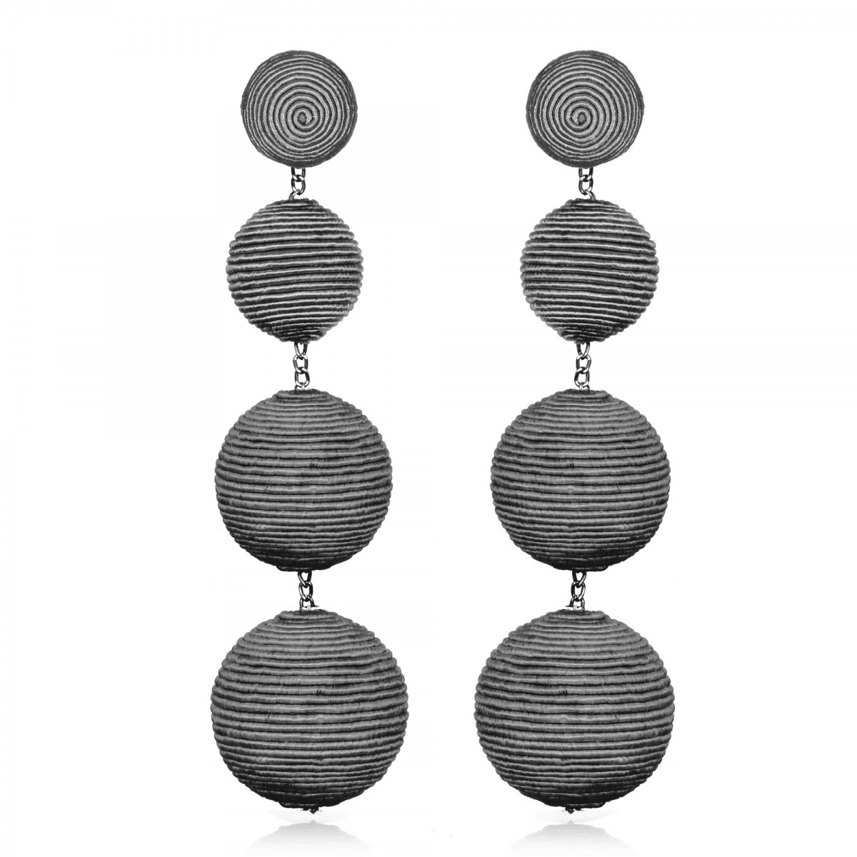 Grey Silk Gumball Earrings by SUZANNA DAI