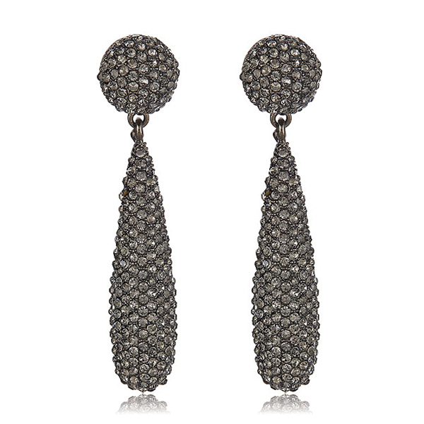 Gunmetal Bat Drop Earrings by KENNETH JAY LANE