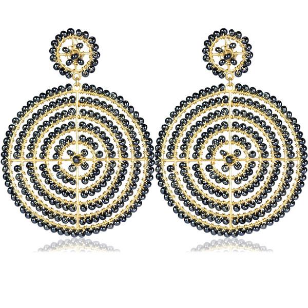 Gunmetal Disk Earrings by LISI LERCH