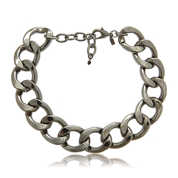 Gunmetal Flat Link Necklace by KENNETH JAY LANE