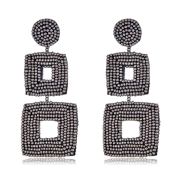 Gunmetal Grey Beaded Earrings by KENNETH JAY LANE