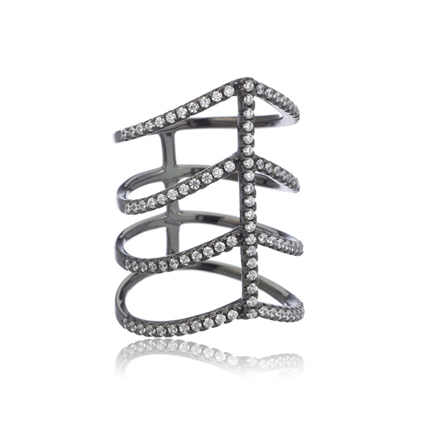 Gunmetal Row Ring by Marcia Moran