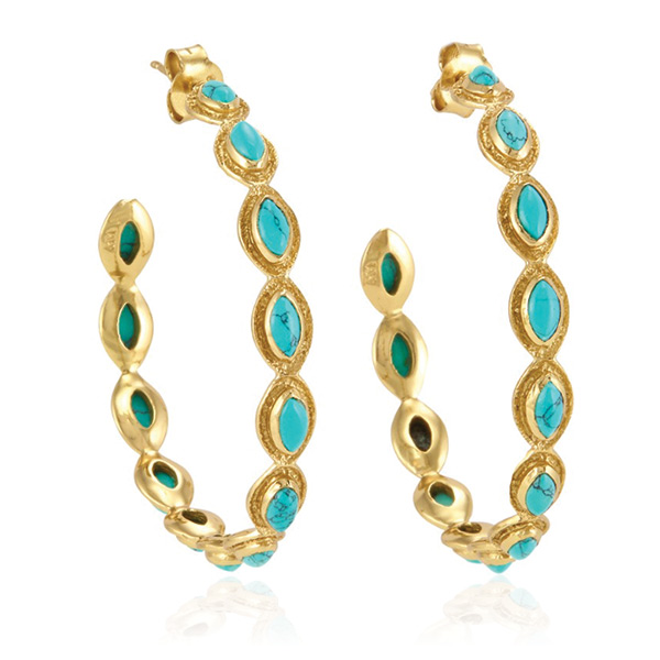 Gwyneth Medium Turquoise Hoops by MELINDA MARIA