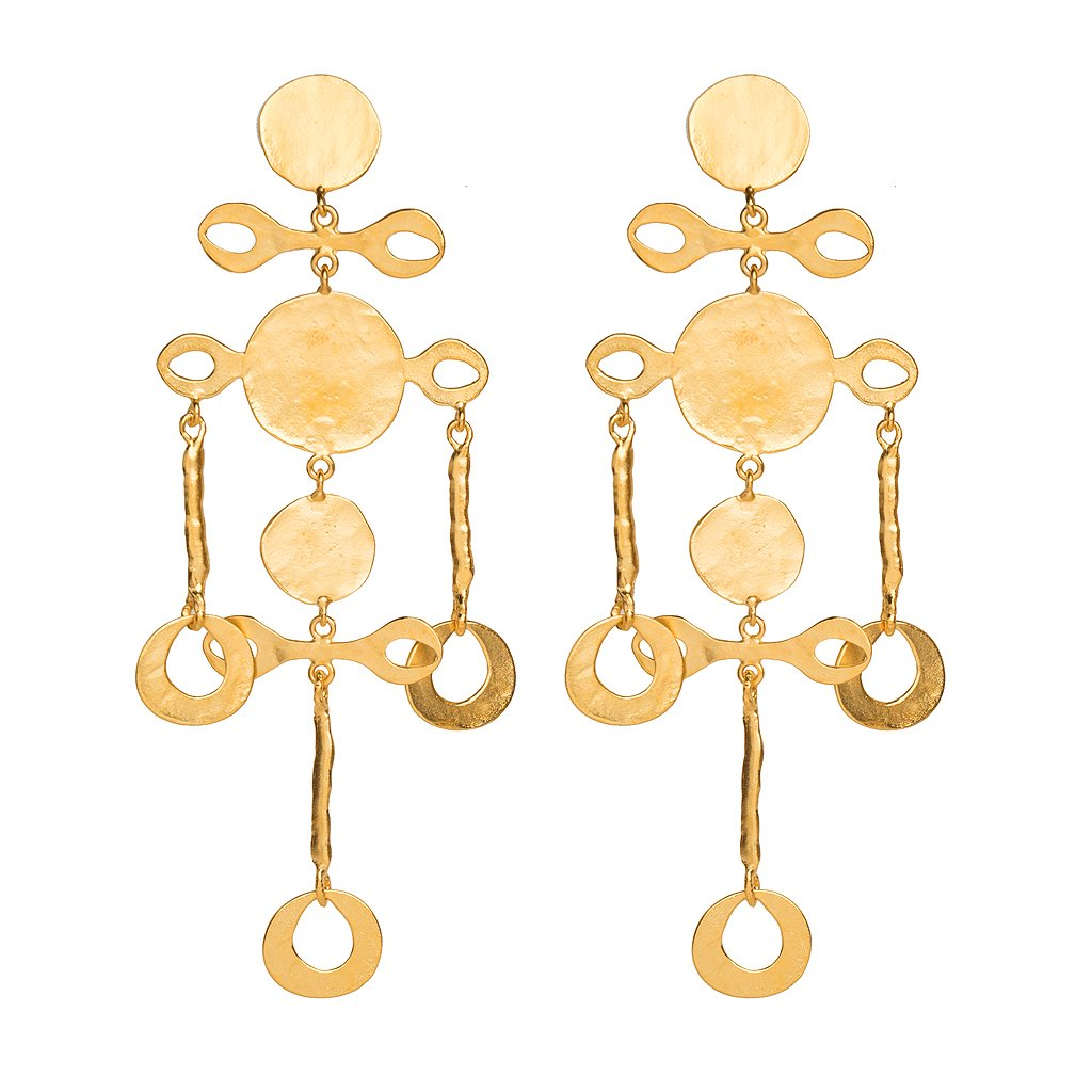 Long Satin Gold Coin Earrings by KENNETH JAY LANE