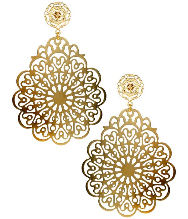 Holly Gold Filigree Earrings