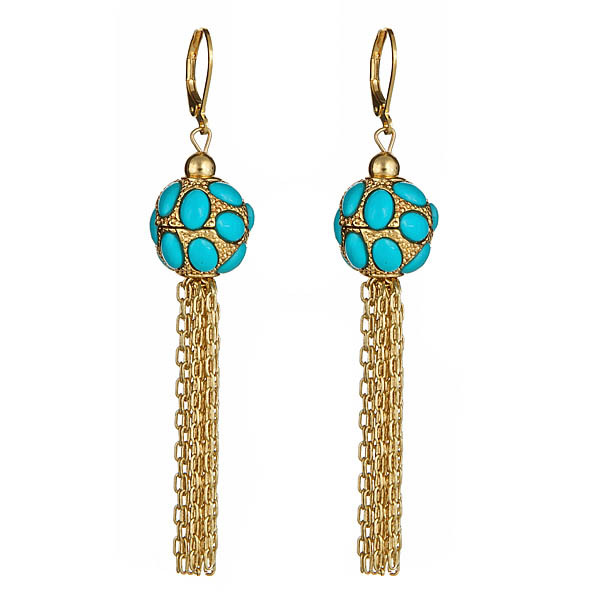 Turquoise Fringe Earrings by KENNETH JAY LANE