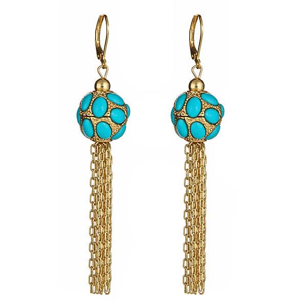 Turquoise Fringe Earrings by KENNETH JAY LANE