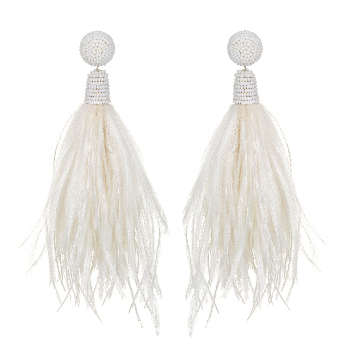 Ivory Feather Earrings by SUZANNA DAI
