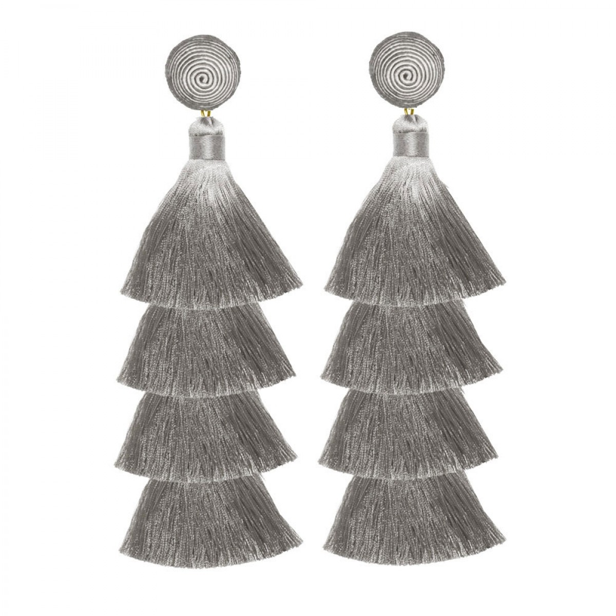 Grey Tiered Tassel Earrings by SUZANNA DAI