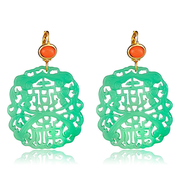 Jade Carved Earrings by KENNETH JAY LANE