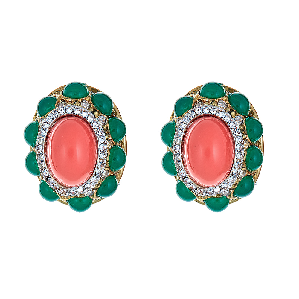 Jade Coral Cabochon Earrings  by KENNETH JAY LANE