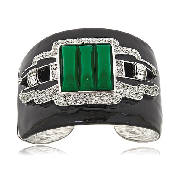 Jade Deco Cuff Bracelet by Kenneth Jay Lane